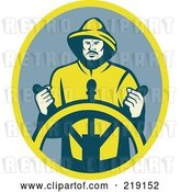 Vector Clip Art of Retro Firefighter at the Wheel Logo by Patrimonio