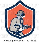 Vector Clip Art of Retro Firefighter Holding a Hose in a Blue White and Orange Shield by Patrimonio