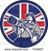 Vector Clip Art of Retro Firefighter Holding a Hose in a British Flag Circle by Patrimonio
