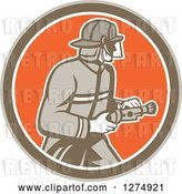 Vector Clip Art of Retro Firefighter Holding a Hose in a Brown White and Orange Circle by Patrimonio