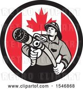 Vector Clip Art of Retro Firefighter Holding a Hose in a Canadian Flag Circle by Patrimonio