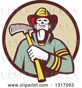 Vector Clip Art of Retro Firefighter Holding an Axe in a Brown and Tan Circle by Patrimonio