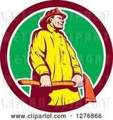 Vector Clip Art of Retro Firefighter Holding an Axe in a Maroon White and Green Circle by Patrimonio