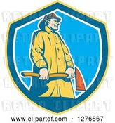 Vector Clip Art of Retro Firefighter Holding an Axe in a Yellow Blue and White Shield by Patrimonio