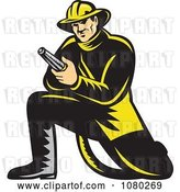 Vector Clip Art of Retro Firefighter Kneeling and Holding a Hose by Patrimonio