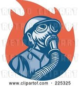 Vector Clip Art of Retro Firefighter Wearing a Gas Mask over Red Flames by Patrimonio