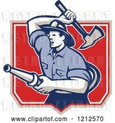 Vector Clip Art of Retro Firefighter with a Hose and Axe in a Shield by Patrimonio