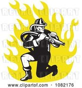 Vector Clip Art of Retro Firefighter with a Hose over Yellow Flames by Patrimonio