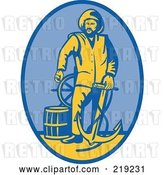 Vector Clip Art of Retro Firefighter with an Anchor Logo by Patrimonio