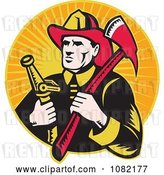 Vector Clip Art of Retro Firefighter with an Axe and Hose over Orange Rays by Patrimonio