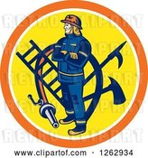 Vector Clip Art of Retro Firefighter with Tools and a Hose in an Orange White and Yellow Circle by Patrimonio