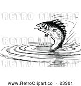 Vector Clip Art of Retro Fish Jumping from Water by Prawny Vintage