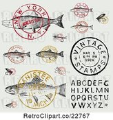 Vector Clip Art of Retro Fish Postmark Stamps and Alphabet Design Elements by BestVector