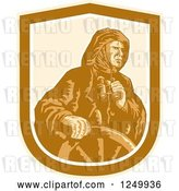 Vector Clip Art of Retro Fisher Man Captain Holding Binoculars at the Helm by Patrimonio