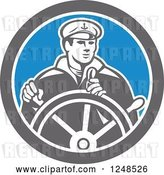 Vector Clip Art of Retro Fisher Man Ship Captain Steering a Helm by Patrimonio