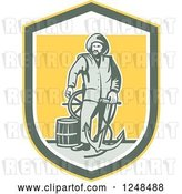 Vector Clip Art of Retro Fisher Man with an Anchor Drum and Helm in a Shield by Patrimonio