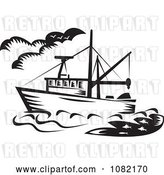 Vector Clip Art of Retro Fishing Boat by Patrimonio