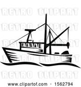 Vector Clip Art of Retro Fishing Boat with Waves by Patrimonio