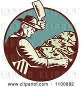 Vector Clip Art of Retro Fishmonger Butchering Fish with a Cleaver Knife by Patrimonio