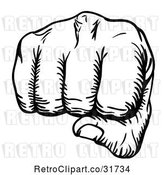 Vector Clip Art of Retro Fist Punching by AtStockIllustration