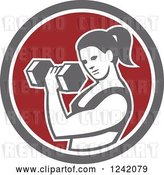 Vector Clip Art of Retro Fit Lady Doing Bicep Curls with a Dumbbell in a Circle by Patrimonio