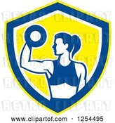 Vector Clip Art of Retro Fit Lady Doing Bicep Curls with a Dumbbell in a White Blue and Yellow Shield by Patrimonio