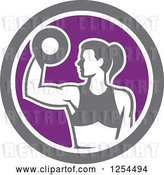 Vector Clip Art of Retro Fit Lady Doing Bicep Curls with a Dumbbell in a White Purple and Gray Circle by Patrimonio