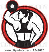 Vector Clip Art of Retro Fit Lady Working out with a Dumbbell in a Red Circle by Patrimonio
