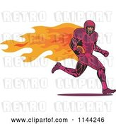 Vector Clip Art of Retro Flaming Football Player Running by Patrimonio