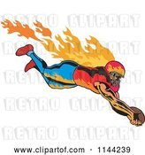 Vector Clip Art of Retro Flaming Touchdown Football Player by Patrimonio