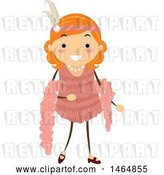 Vector Clip Art of Retro Flapper Girl in a Pink Dress by BNP Design Studio