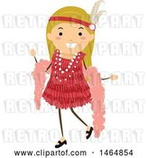 Vector Clip Art of Retro Flapper Girl in a Red Dress by BNP Design Studio