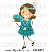 Vector Clip Art of Retro Flapper Girl in a Teal Dress by BNP Design Studio