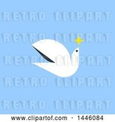 Vector Clip Art of Retro Flat Styled Peace Dove Flying with a Star, on Blue by Elena