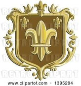 Vector Clip Art of Retro Fleur De Lis Coat of Arms Shield by Patrimonio