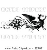 Vector Clip Art of Retro Floral and Dragon Design Element by Prawny Vintage