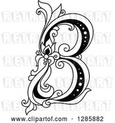 Vector Clip Art of Retro Floral Capital Letter B by Vector Tradition SM