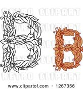 Vector Clip Art of Retro Floral Capital Letter B Designs with Flowers by Vector Tradition SM