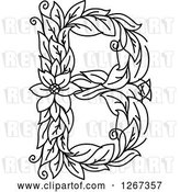 Vector Clip Art of Retro Floral Capital Letter B with a Flower by Vector Tradition SM