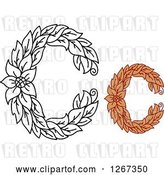 Vector Clip Art of Retro Floral Capital Letter C Designs with a Flower by Vector Tradition SM