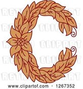 Vector Clip Art of Retro Floral Capital Letter C with a Flower by Vector Tradition SM