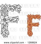 Vector Clip Art of Retro Floral Capital Letter F Designs with a Flowers by Vector Tradition SM