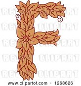 Vector Clip Art of Retro Floral Capital Letter F with a Flower by Vector Tradition SM