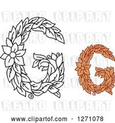 Vector Clip Art of Retro Floral Capital Letter G Designs with a Flowers by Vector Tradition SM