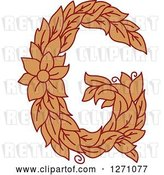 Vector Clip Art of Retro Floral Capital Letter G with a Flower by Vector Tradition SM