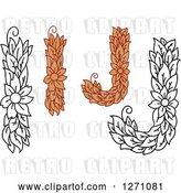 Vector Clip Art of Retro Floral Capital Letter I and J Designs with a Flowers by Vector Tradition SM