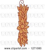 Vector Clip Art of Retro Floral Capital Letter I with a Flower by Vector Tradition SM