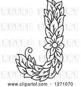 Vector Clip Art of Retro Floral Capital Letter J with a Flower by Vector Tradition SM