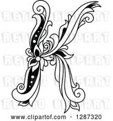 Vector Clip Art of Retro Floral Capital Letter K by Vector Tradition SM