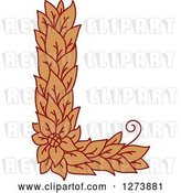 Vector Clip Art of Retro Floral Capital Letter L with a Flower by Vector Tradition SM